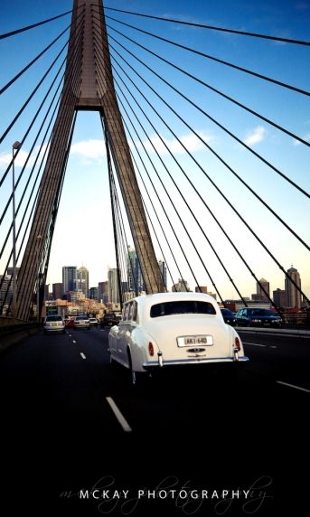 wedding car anzac bridge sydney
